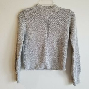 TOPSHOP Womens Gray Crew Neck Fitted Knit Sweater